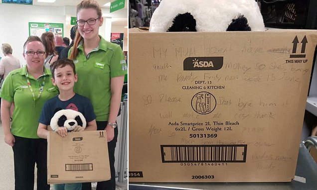 STIAN_PANDA TOY6_IMAGE006nA 10-YEAR-OLD lad who desperately wanted a toy panda in an Asda store left a note begging nobody to buy the last one - after his mum said he would have to wait until she got paid.nnPrimary school pupil Leon Ashworth spotted the 'Lovable Huggable Panda' on the shelves of his local Asda store in the Liverpool suburb of Hunt's Cross while shopping with mum Debbie.nnDebbie, 35, an intensive care nurse at Liverpool Heart and Chest Hospital, told her son, however, that she couldn't afford the £10 panda until her next pay day.nnEnterprising Leon decided to 'tuck away' the last panda - which is now sold out online as Asda stores - and put him in an empty cardboard box, which he wrote an adorable note on in pencil. Leon's note on box with pandanSTIAN ALEXANDER 07528 679198