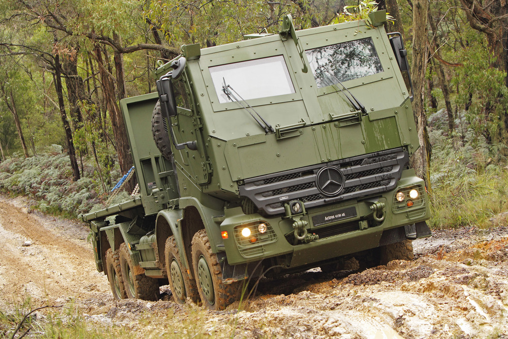 Medium-weight trucks form the backbone of ground transport for the Regular and Reserve Forces, getting supplies where they are needed in the most efficient way possible. Pictured is the Actros, one of Mercedes-Benz's military vehicles that are currently on offer to the Canadian Army.